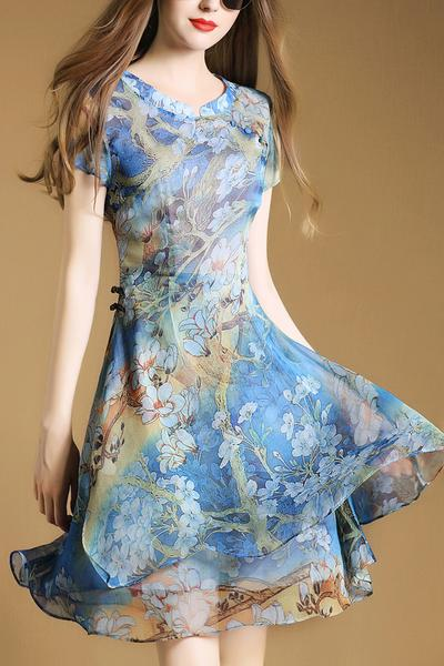 Sleeveless High Waist Flower Print Short Chiffon Dress