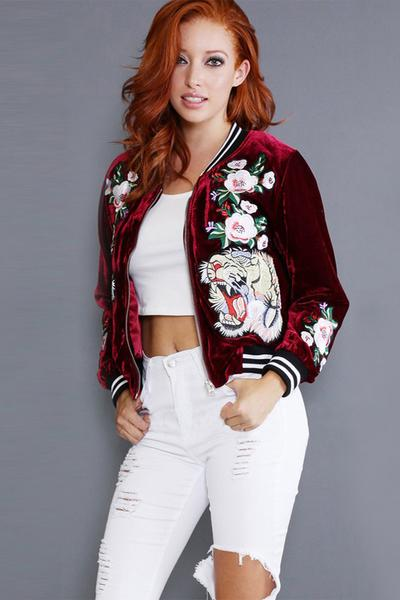 Roses Embroidery Print Long Sleeves Short Coat