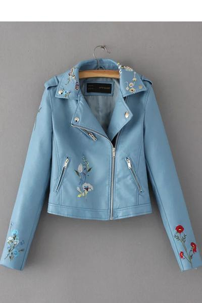 Embroidery Lapel Zipper Short PU Jacket