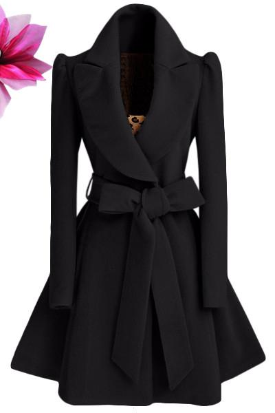 Pure Color Belt V-neck Bowknot Belt Long Sleeves Long Coat