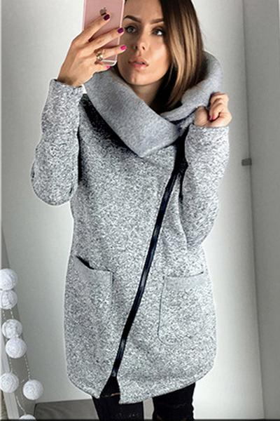 Side Zipper Solid Color Long Hooded Coat
