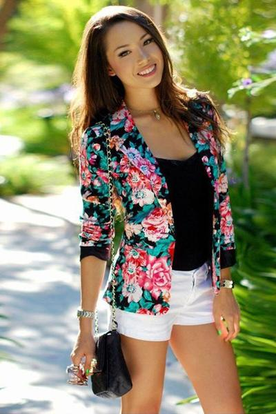 Fashion Flower Print Slim Short Blazers