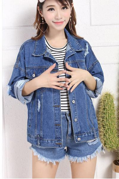 Print Hole Letter Print Lapel Short Denim Coat