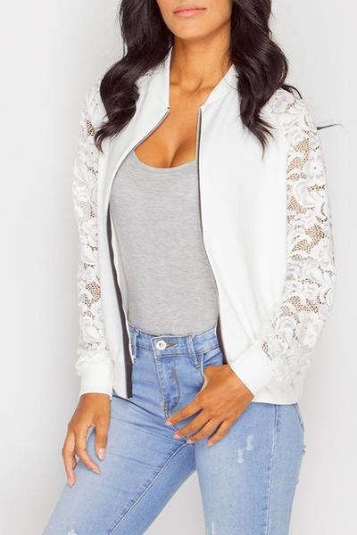 Long Sleeves Pure Color Lace Patchwork Round Collar Slim Jacket
