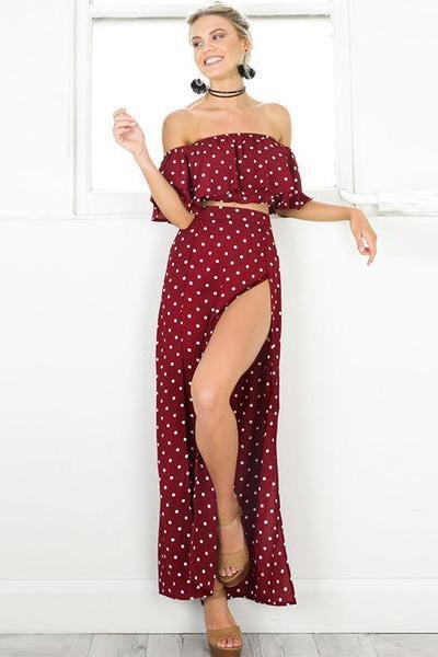 Burgundy Polka Dot Two-Piece Maxi Featuring Ruffled Off-The-Shoulder Cropped Top and Maxi Skirt with High Slit
