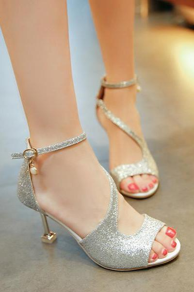 PU Stiletto Heel Peep-toe Ankle Strap Sandals