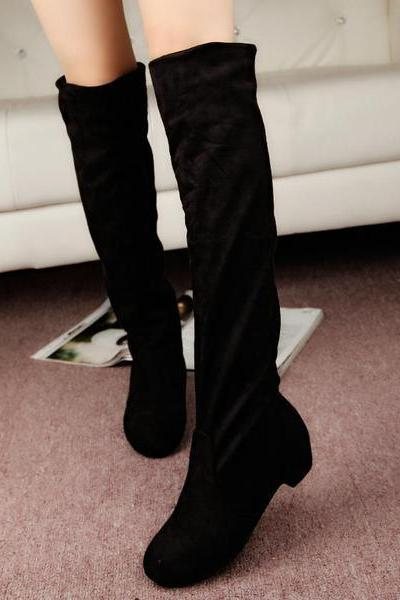 Faux Suede Knee High Rounded-Toe Flat Boots