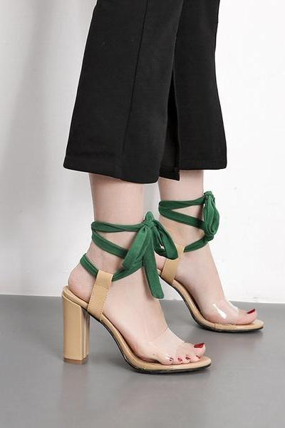 Peep-toe PU Chunky Heel Transparent Ankle Strap Sandals