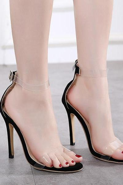 Open-Toe Transparent Ankle Strap Stilettos, High Heels
