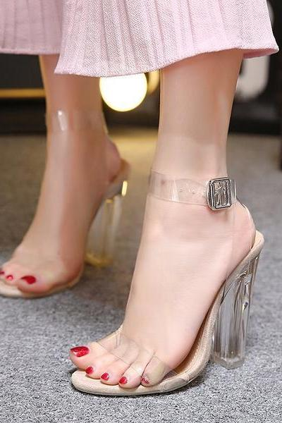 Chunky Heel Peep-toe PU Transparent Ankle Strap Sandals