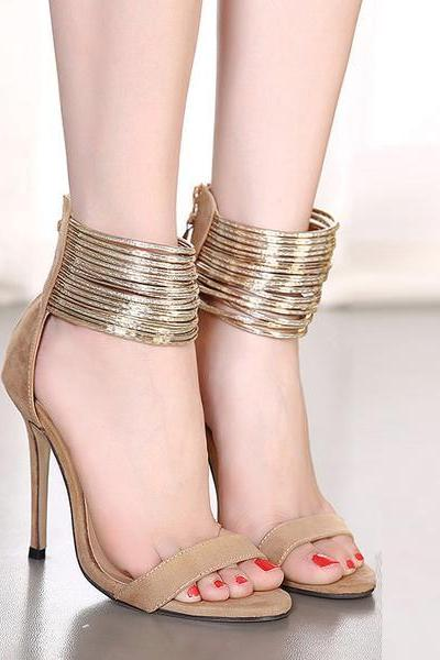 Stiletto Heel Straps Wraps Simple Styles High Heels Prom Sandals
