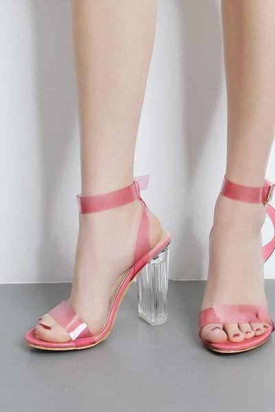 Transparent Chunky Heel Peep-toe Ankle Strap Party Sandals