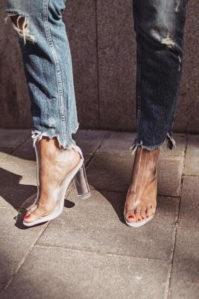 Transparent Chunky Heel Peep-toe Zipper Sandals
