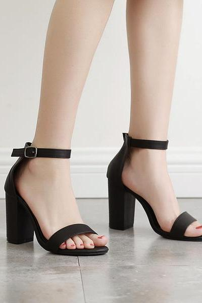 Pure Color Chunky Heel Peep-toe Ankle Strap Sandals