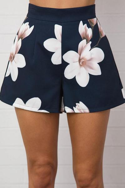 Flower Print High Waist Wide-leg Polyester Shorts