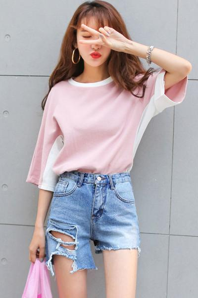Irregular Hole Tassel Denim Casual Loose Shorts