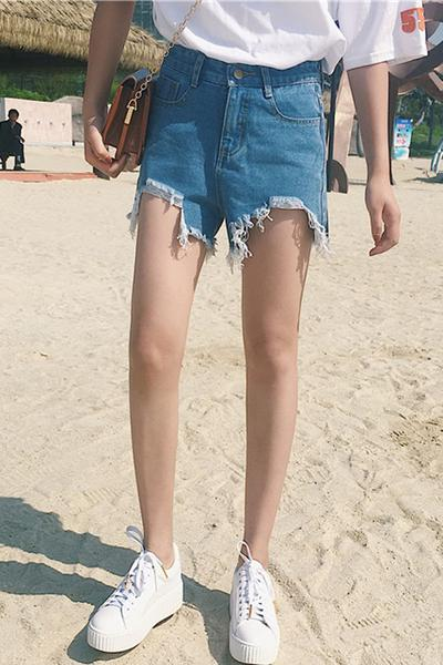 High Waist Irregular Hole Loose Rough Edge Denim Shorts