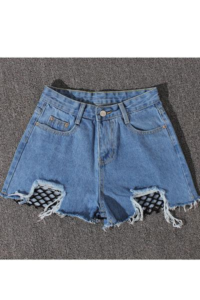 Pure Color High Waist Tassel Denim Wide Legs Shorts