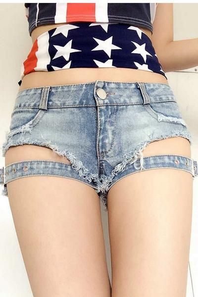 Pure Color Bandage Slim Denim Sexy Shorts