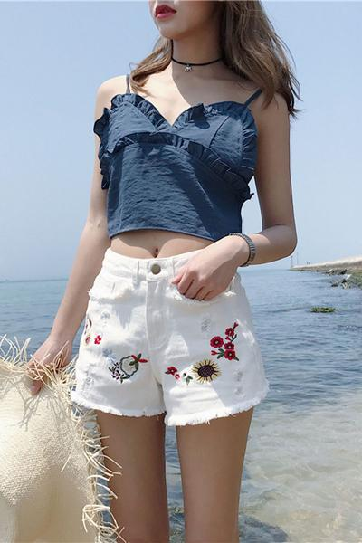 High Waist Print Hole Loose Denim Wide-legs Shorts