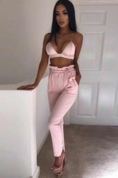 Pure Color Stretch Straps Belt Long Pants