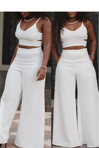 Spaghetti Straps Crop Top with Wide Leg Loose Long Pants Two Pieces Set