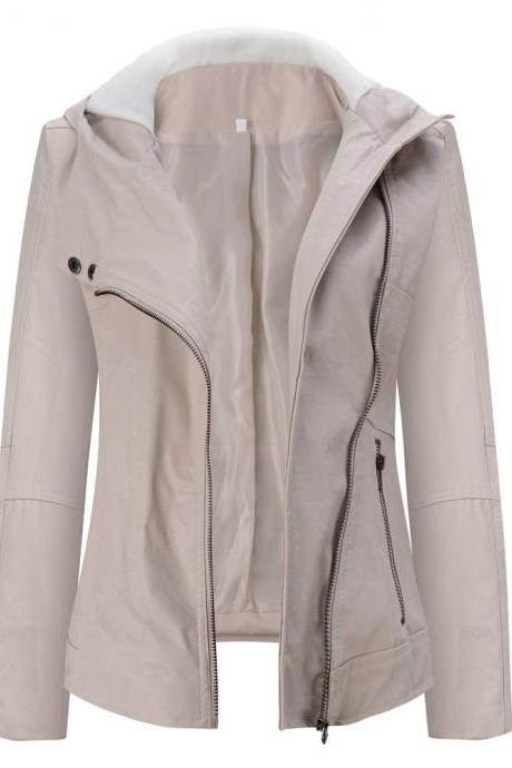 Fashion Hooded Long-sleeved Pure Color Women's Leather Jacket
