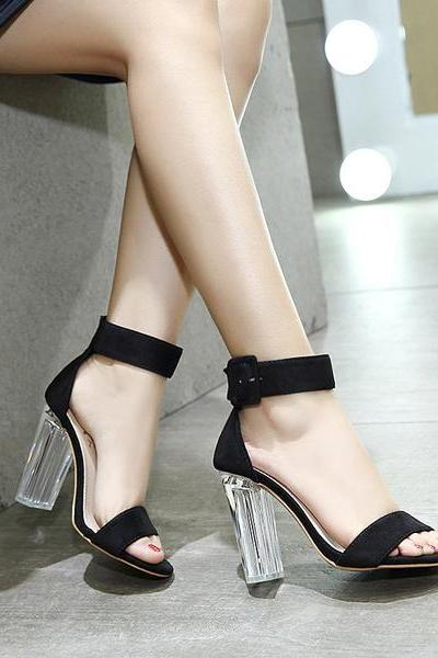 Hasp Ankle Wrap Transparent Heels High Heel Sandals