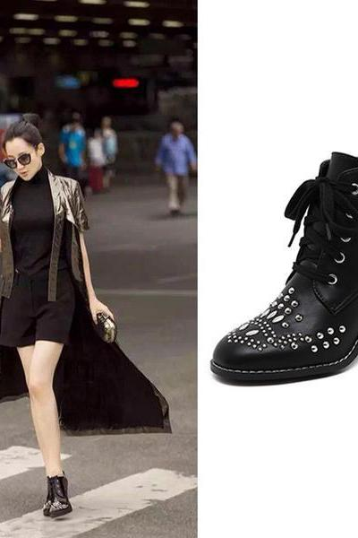Studded Round Toe Lace Up Ankle Boots With Circular Heel