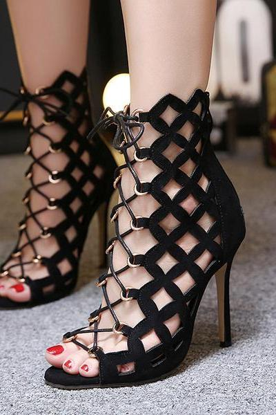 Suede Peep-Toe Lace-Up Cutout Ankle Boots with Stiletto Heels