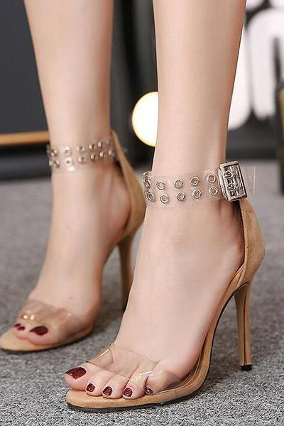 Studded Transparent Barely There High Heels