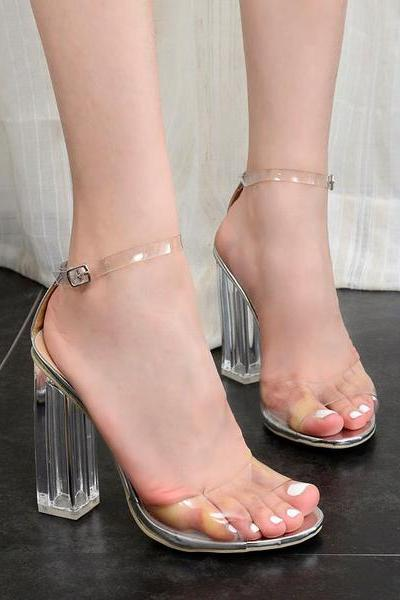 Trapsparent Chunky Heel Summer Ankle Strap Peep-toe Sandals