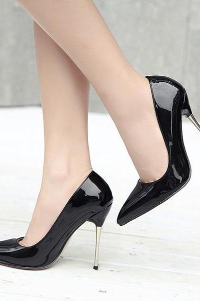 Classic Glossy Pointed-Toe Stiletto Pumps, High Heels