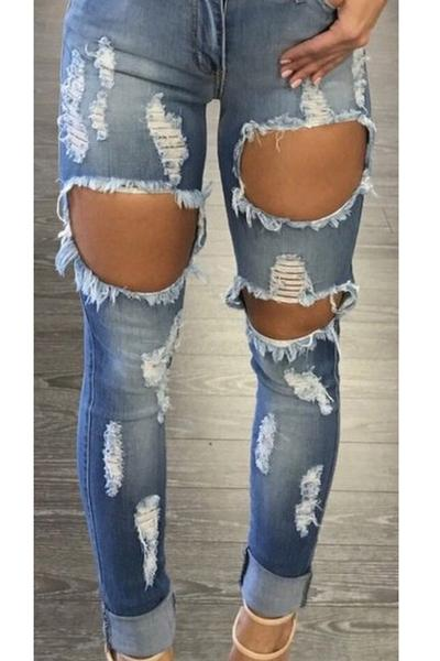 Curled Cut Out Rough Holes Slim Skinny Long Jeans Denim Pants