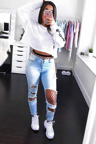 Light Color Cut Out Rough Holes Long Skinny Jeans Denim Pants