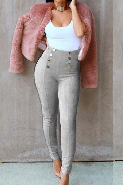 Buttons Decorate Suede Candy Color Long Skinny Pants