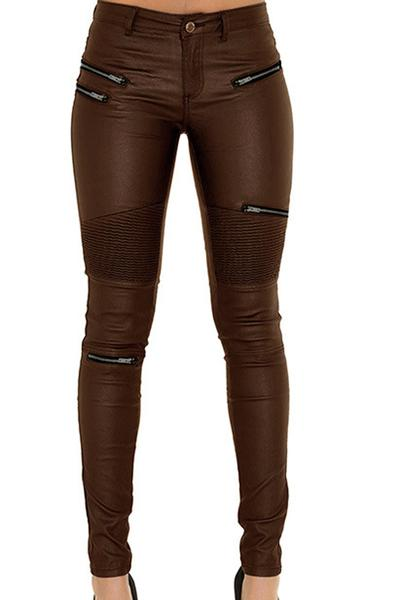 Solid Color PU Low Waist Zipper Long Skinny Pants