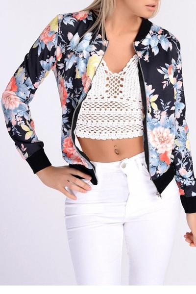 Floral Print Stand Collar Zipper Short Coat