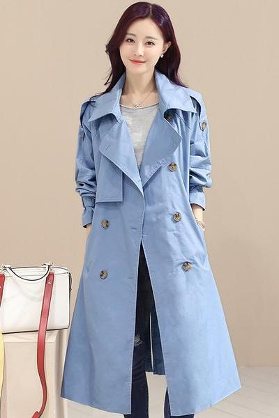 Double Breasted Lapel Collar Pockets Long Coat