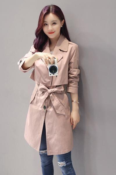 Buttons Decorate Lapel Collar Long Slim Coat