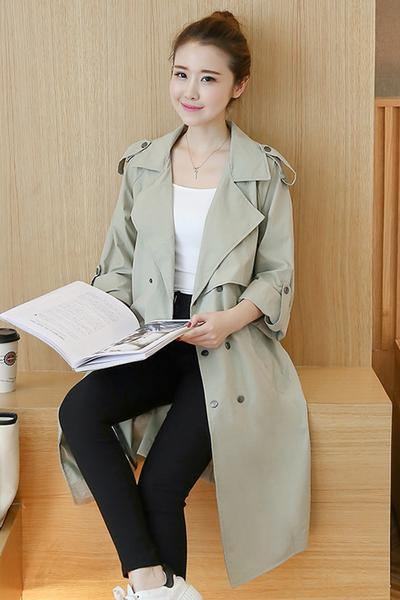 Solid Color Lapel Belt Buttons Loose Long Coat