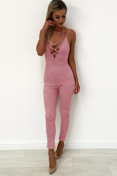 Spaghetti Straps Straps Cross Sleeveless Long Jumpsuit