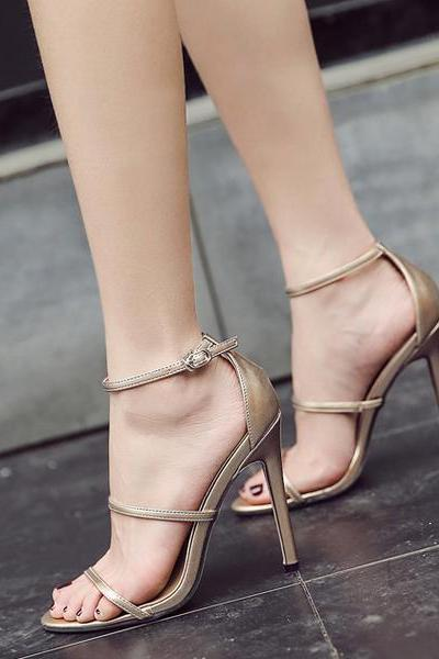Straps Ankle Wraps Open Toe Stiletto High Heel Sandals