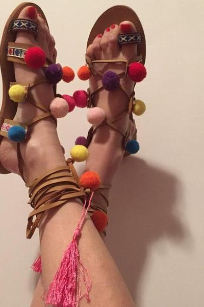 Colorful Balls Decorate Lace Up Ankle Wraps Slip-on Flat Sandals