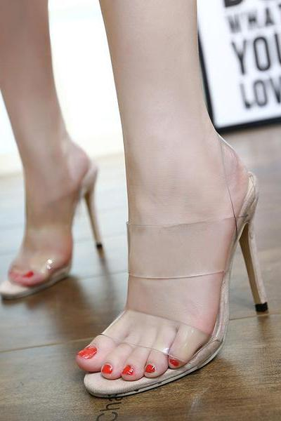 Transparent Open Toe Stiletto High Heels Sandals
