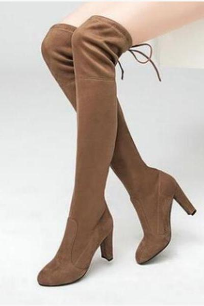 Suede Round Toe Solid Color High Heels Over-knee Long Boots