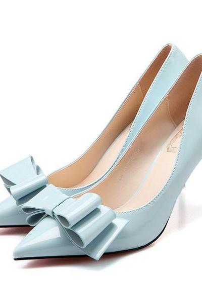 Pointed Toe Bowknot Decorate Stiletto Low Heels Party Shoes