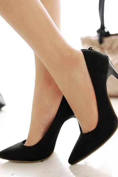Candy Color Pointed Toe Low Cut Decorate Stiletto High Heels