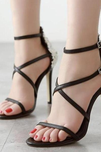 Solid Color Open Toe Straps Ankle Wraps High Heel Sandals
