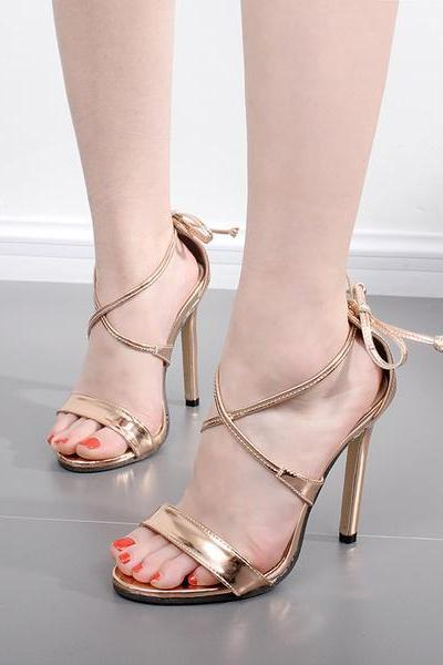 Metallic Open-Toe Cross-Strap Stilettos, High Heels